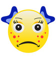 emoticon with acne squeezing a pimple vector image vector image