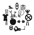 fitness icons set simple style vector image