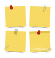 flat design yellow color sticky notes with red vector image