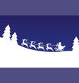 flying santa with reindeer over christmas night vector image