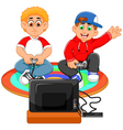 funny two boys playing playstation vector image vector image