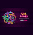 girl power neon banner design vector image vector image