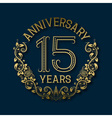 Golden emblem of fifteenth years anniversary vector image vector image