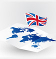 great britain flag on abstract world map vector image vector image