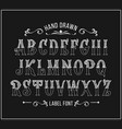 Hand drawn letters alphabet in victorian style
