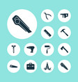 handtools icons set with utility knife clamp vector image