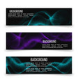 horizontal banner templates with digital flow wave vector image vector image