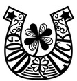 horseshoe lucky symbol with clover st patricks vector image