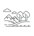 landscape mountains and hills road and trees vector image vector image