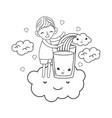 little boy with milk and rainbow kawaii character vector image vector image