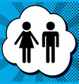 male and female sign black icon in bubble vector image