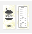 Menu template with sketched fast food elements vector image vector image