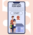 mobile landing page with best rental flat offer vector image vector image