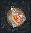 pizza ham slice with background vector image