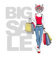 retro hipster animal girl cat big sale hipster vector image vector image