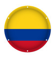 round metallic flag of colombia with screw holes vector image vector image