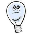 sad lighting bulb on white background vector image vector image