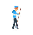 sailor standing with mop seaman character in vector image vector image