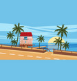 seascape road house palm trees tropical vector image