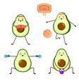 set avocado sport - boxing and basketball vector image vector image