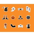 set halloween sticker icons vector image