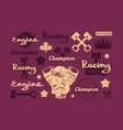 set lettering and element for t-shirt vector image vector image