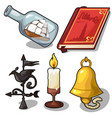 set of book bell candle compass ship vector image vector image