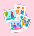 set of pictures of elderly and young relatives vector image