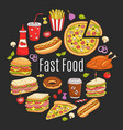 sketch of fast food circular vector image vector image