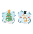 snowman and christmas tree under snowfall vector image vector image