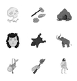 Stone age set icons in monochrome style Big vector image vector image
