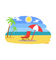 summer beach with recliner under umbrella near sea vector image vector image