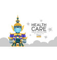 thai giant put face mask virus protection vector image