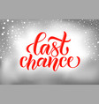 typography word last chance to buy for onli vector image vector image