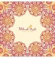 Vintage ethnic square floral frame in Indian vector image