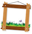 wooden frame template with green grass and vector image vector image