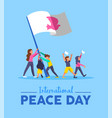 world peace day card for diverse people teamwork vector image