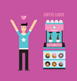 young happy man coffee machine and donuts vector image vector image