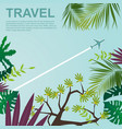bottom view of airplane flying over jungle vector image