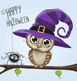cute cartoon owl in a witch hat vector image