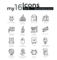 Modern thin line icons set of school education vector image