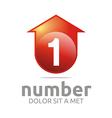number 1 figure arrow house symbol vector image