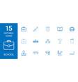 15 school icons vector image vector image