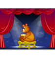 A bear with a pot of honey sitting at the stage vector image vector image