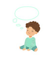 adorable little boy dreaming with a thought bubble vector image