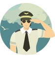 airline pilot in a round emblem vector image