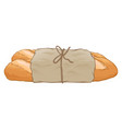 baguette bread wrapped in paper vector image