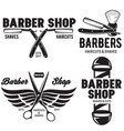 barber shop badges set barbers hand lettering vector image