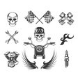 bikers club isolated icons motorcycle races vector image