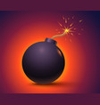 black bomb on orange background vector image